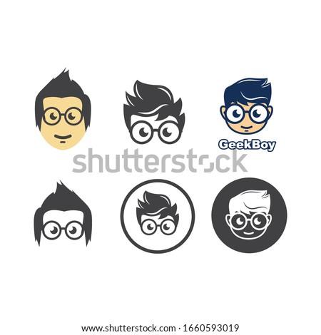 geek boy icon vector illustration design template ストックフォト ©