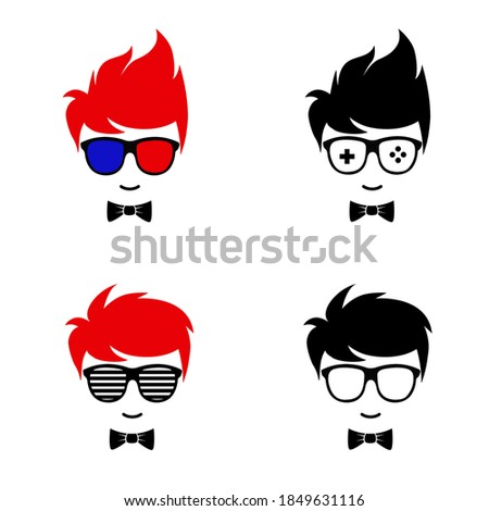 geek boy set vector design