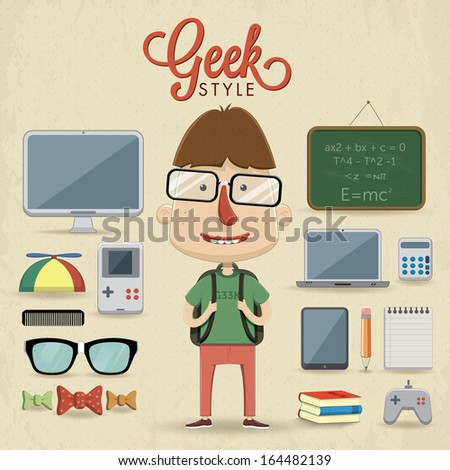 geek character design vector