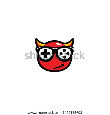 GEEK GAME DEVIL MASCOT DESIGN VECTOR LOGO.