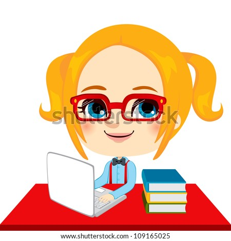 Geek girl student doing homework with laptop and books on red desk