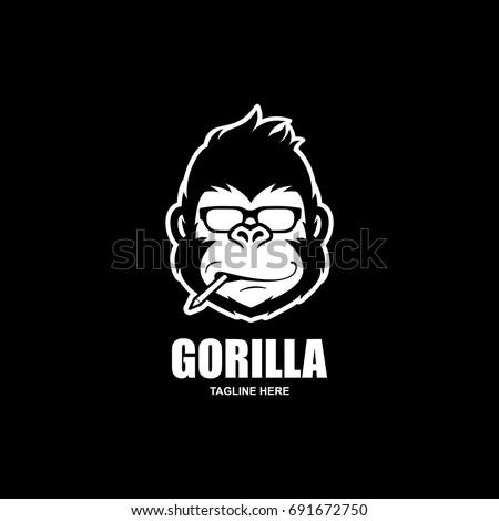 Geek Gorilla Logo / Cool Gorilla Head Vector - Nerdy Monkey Logo