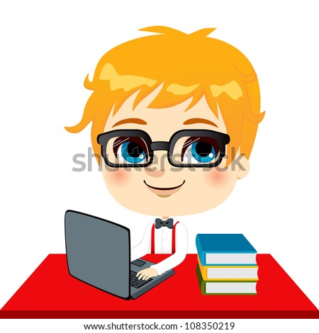 Geek kid student doing homework with laptop and books on desk