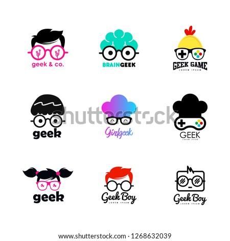 Geek logo set. Geek logo template