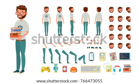 Geek Man Vector. Animated Character Creation Set. Animated Computer Nerd Male. Man Full Length, Front, Side, Back View, Accessories, Poses, Face Emotions, Gestures. Isolated Flat Cartoon Illustration