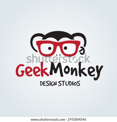 geek monkey vector logo template