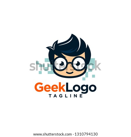 Geek Nerd Logo Stock Vector