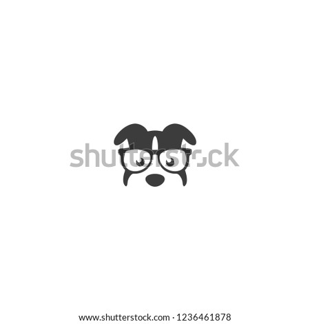 Geek or nerd logo vector  . Cartoon face smart dog with glasses. Icons for education, gaming, animals  or scientific applications and sites.