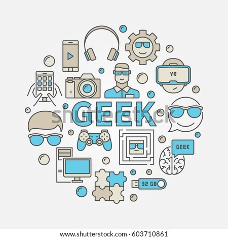 Geek round colorful illustration. Vector circular nerd symbol made with gadget icons and word GEEK ストックフォト ©