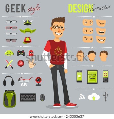 geek style design character set