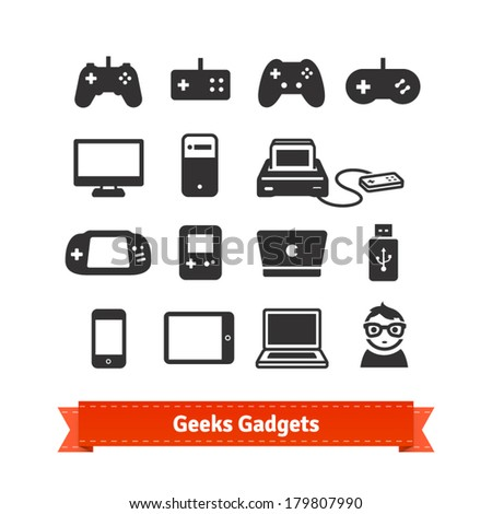 Geeks gadgets flat icon set From gaming consoles to tablets