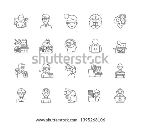 Geeks,nerds line icons, signs, vector set, outline illustration concept
