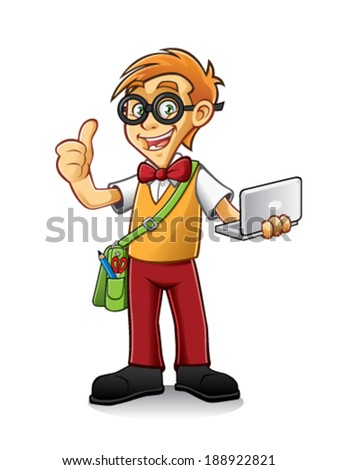 geeky boy standing holding a laptop and thumbs-up