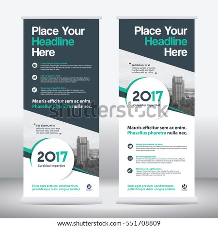 Geen Color Scheme with City Background Business Roll Up Design Template.Flag Banner Design. Can be adapt to Brochure, Annual Report, Magazine,Poster, Corporate Presentation, Portfolio, Flyer, Website