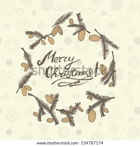 geeting card with fir cones