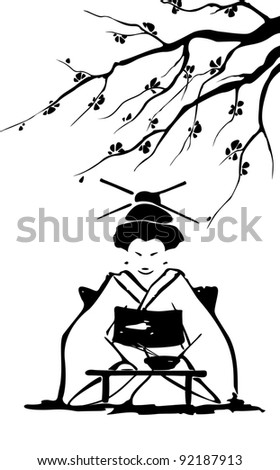 geisha and sakura in vector