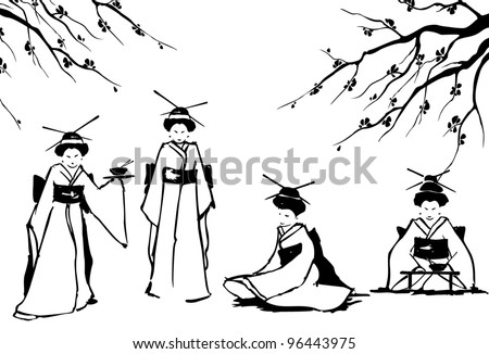 geisha and sakura vector eps