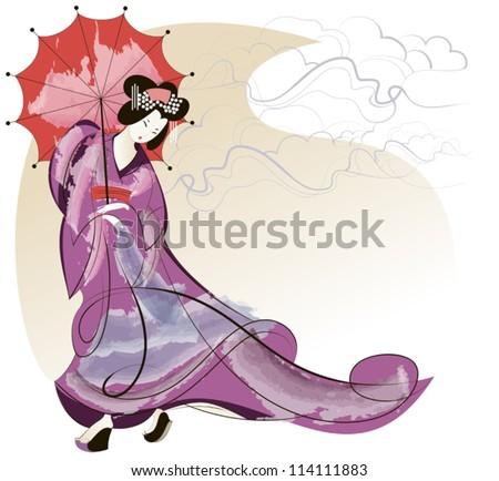 geisha in pink kimono under a