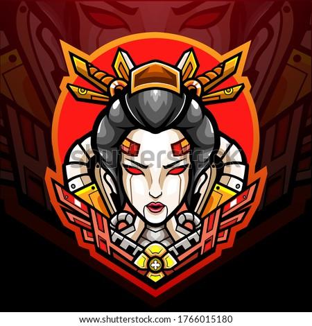 geisha mecha esport logo mascot