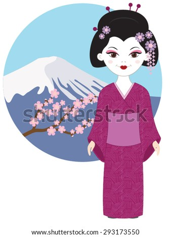 geisha near fuji mountain