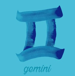 gemini icon of zodiac, Vector icon. astrological signs, colorful image of horoscope. Watercolour style