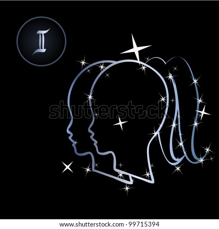 Gemini/Lovely zodiac signs formed by stars on black background