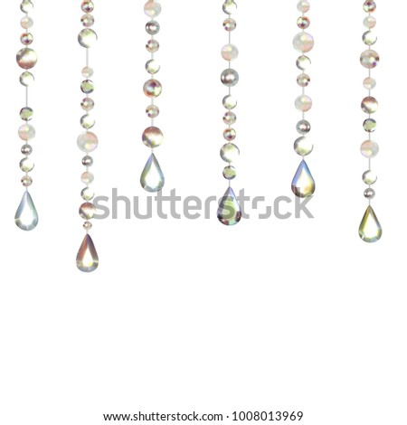 Gems. Decoration. Diamonds. Abstract background. Jewelry. Hanging crystals. Vector illustration.