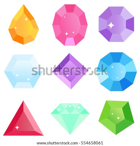 Gems, icon gems, ruby, sapphire, emerald, brilliant, diamond, aquamarine. Flat design, vector illustration, vector.