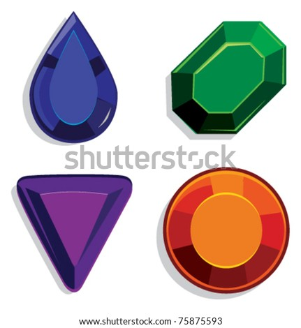 Gems in different colors set vector illustration