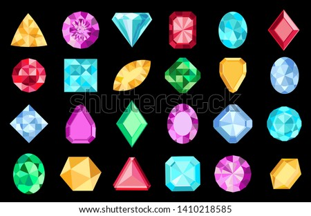 Gems isolated on white background. Vector jewels or precious diamonds gem set. Diamonds set. Colorful diamonds on black background.