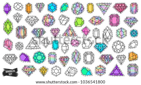 Gems patch badges set. Doodle sketch vector. Gems stickers. Hand drawn. Comic stickers jewelry stones. Holographic rhinestones. Social media emoji. Diamonds, brilliants and crystals. Fashionable pins.