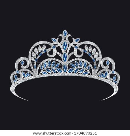 gemstone tiara, sapphires and diamonds vector illustration Сток-фото ©