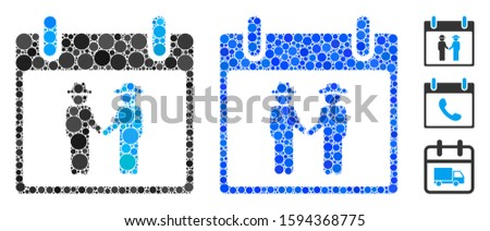 Gemtlemen handshake calendar day composition of round dots in various sizes and color tints, based on gemtlemen handshake calendar day icon. Vector round elements are grouped into blue composition.