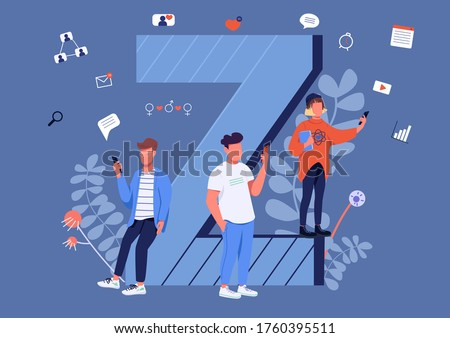 Gen Z communication flat concept vector illustration. Young people with smartphones 2D cartoon characters for web design. Modern youth, generation Z lifestyle, internet culture creative idea Stok fotoğraf ©