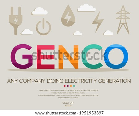 Genco mean (any company doing electricity generation) Energy acronyms ,letters and icons ,Vector illustration.