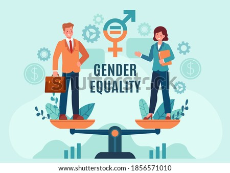 Gender business equality. Employee woman and man standing on balanced scales. Fair job opportunity and salary. Equal rights vector concept. Gender equality professional opportunity illustration