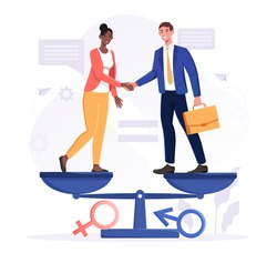 Gender equality concept with diverse multiracial business man and woman shaking hands standing on a scale in perfect balance, colored flat cartoon vector illustration with fictional characters