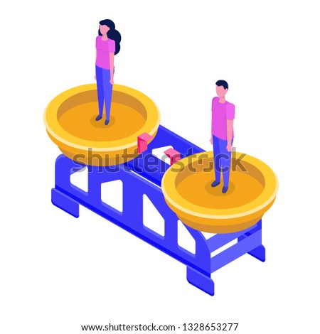 Gender equality, Equal pay and opportunity  isometric concept with man and woman on scale. Vector Illustration.