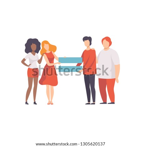 Gender Equality in Society, Equal Rights of People Vector Illustration