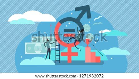 Gender equality vector illustration. Flat tiny persons with sex symbol concept. Social problem solving woman discrimination. Feminism movement for tolerance, rights and same opportunities like men do.
