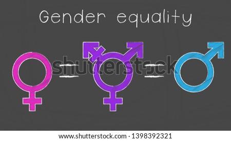 Gender equality vector illustration. Male, female, transgender symbols and equal sign on chalkboard. EPS10.