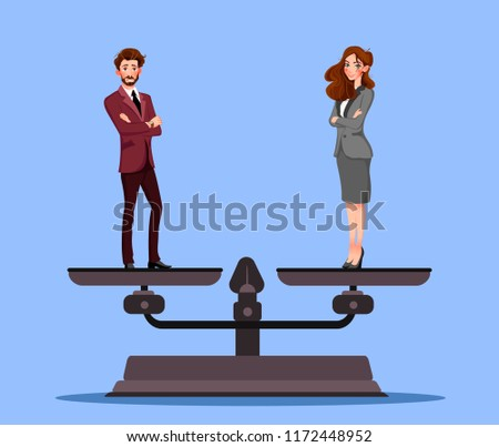 Gender equality with businessman and businesswoman on scales. Equal pay and opportunity business vector concept. Illustration of male and female equal rights