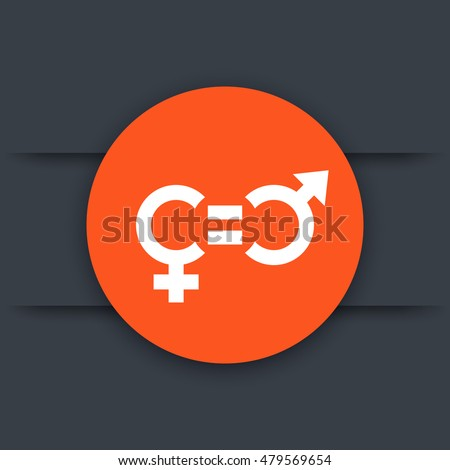 gender equity icon, round pictogram, vector illustration