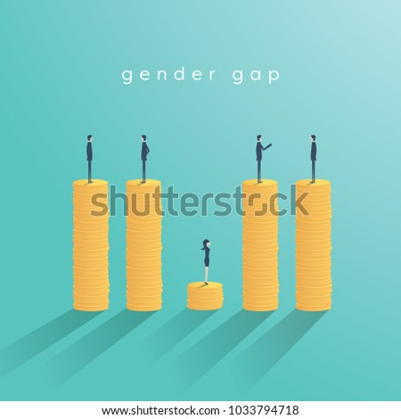 Gender gap and inequality in salary, pay vector concept. Businessman and businesswoman on piles of coins. Symbol of discrimination, difference, injustice. Eps10 vector illustration.