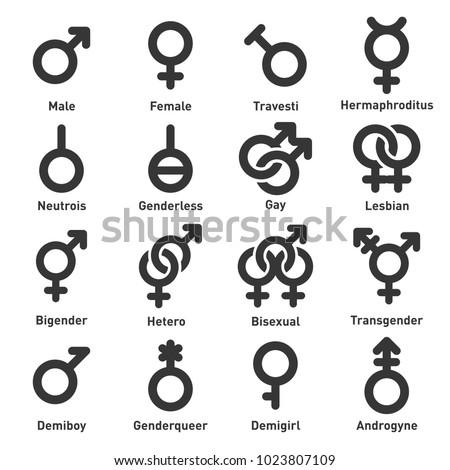 Gender Icons Set on White Background. Vector