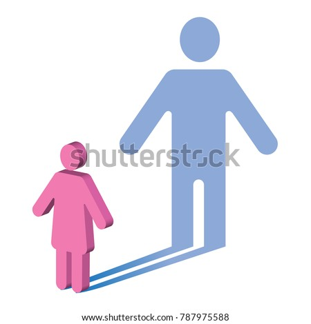 Gender identity. The symbol of a woman, casting a shadow of a man.