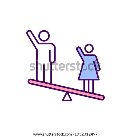 Gender inequality RGB color icon. Prejudicial treatment. Differences in socially constructed gender roles. Unequal men and women treatment. Gender norms and stereotypes. Isolated vector illustration