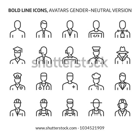 Gender neutral avatars, bold line icons. The illustrations are a vector, editable stroke, 48x48 pixel perfect files. Crafted with precision and eye for quality.
