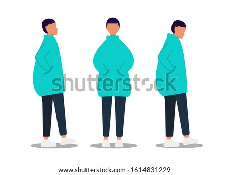 Gender neutrality people, unisex, gender neutral clothing, hairstyle. A young girl, a young guy, pants and sneakers, isolated on a white background. Universal clothing and hairstyle unisex. Vector Photo stock ©