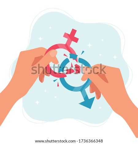 Gender norms concept. Hands holding gender symbols breaking in pieces. Vector illustration in flat style Photo stock ©